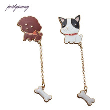 PF Cute Puppy Brooches Dog Chain Bone Drip Oil Pins Women's brooch For Children Girls Badge Clothes Dress Bag Accessories TS1630