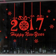 Happy New Year 2017 Merry Christmas Tree Wall Sticker Home Shop Windows Decals Decor Drop Shipping(China)