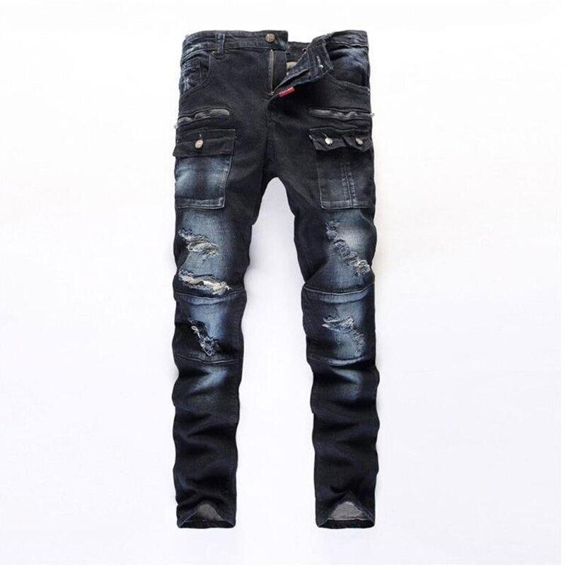 Mens Patchwork Hole Jeans 2017 New Casual Straight Slim Ripped Jeans Pants Fashion Pocket Design Male Clothing Long TrousersÎäåæäà è àêñåññóàðû<br><br>