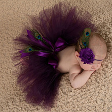 Newborn photography props baby girls purple peacok feather skirt photo props tutu sets+flower headband baby photo shoot