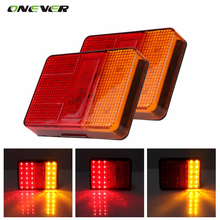 2PCS Universal 12V 30 LED Taillight Truck Car Van Lamp Tail Trailer Light E-Marked 120mm x 90mm