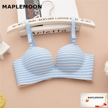 8801 blue One-piece incognito-shaped gathers wire free small flat chest bra deep V female underwear girl thick Dropshipping bras(China)