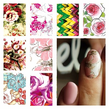 YZWLE 1 Sheet Optional Full Cover Flower Designs Nail Stickers Water Transfer Stickers For Nails Salon