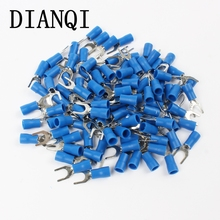 DIANQI SV2-5 Blue Furcate Insulated Wiring Terminals Cable Wire Connector 100PCS/Pack Insulating Cable Lug terminals SV2.5-5 SV