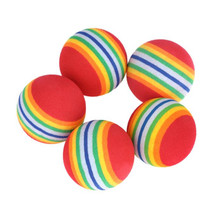 FishSunday5Pcs/Pack Rainbow Stripe Foam Sponge Golf Balls Swing Practice Training AidsM1-05 July06