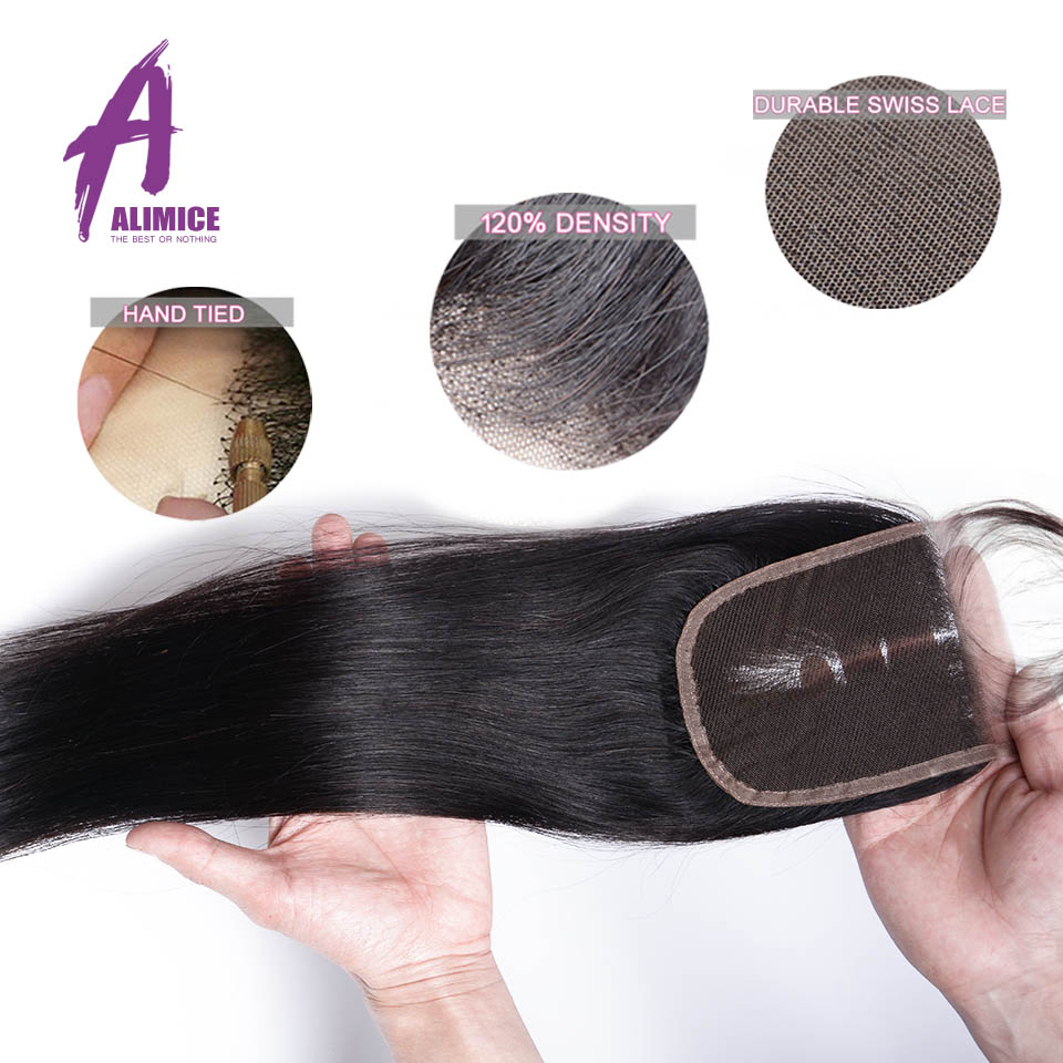 ALIMICE Hair Raw Indian Straight Hair Lace Closure 4x4 100% Human Hair Closure 8-24 Inch Natural Color 100% Non Remy Human Hair (5)