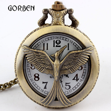 Bronze Retro Hunger Games Pocket Watch Round Dial Arabic Number Vintage Quartz Pocket fob Watches Gifts Relogio De Bolso