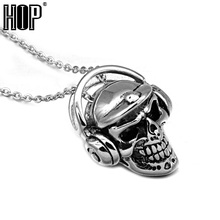 HIP Punk Gothic Stainless Steel Headphones Headset Skeleton Skull Pendants Necklaces for Men Jewelry