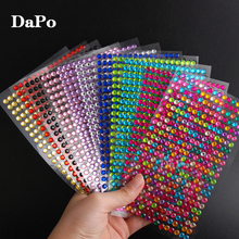 10Set/Pack 11Colors Acrylic Rhinestone Stickers DIY Self Adhesive Colorful Gem Rhinestones Scrapbooking Stickers CT10001(China)