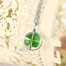 4 Style Silver Plated Vintage Lucky Clover Jewelry with Round Glass Dried Flower Clover Choker Long Pendant Necklace for Women(China)