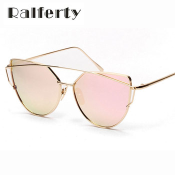 Ralferty Twin-Vigas de Olho de Gato Do Vintage Óculos De Sol Das Mulheres Designer de Marca UV400 Oculos Shades Espelho Revestimento Fêmea Superdimensionada Topo Plano