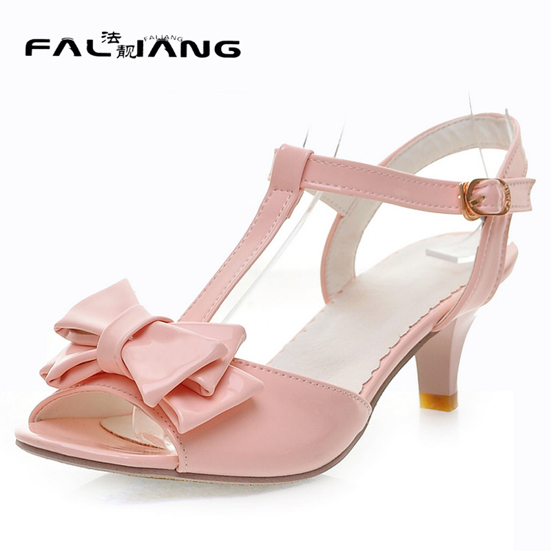 Summer The New Sexy Fish mouth Three layers Butterfly-knot Ladies sandals Buckle Strap Thin Heels Patent Leather Med Heels shoes<br>