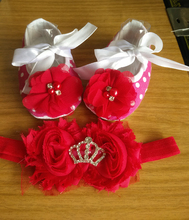 Party Baby Shoe Branded Princess Tiara Headband Set,Polo Crown Girl Shoe,Rhinestone Baby Walker,cheap newborn shoes(China)
