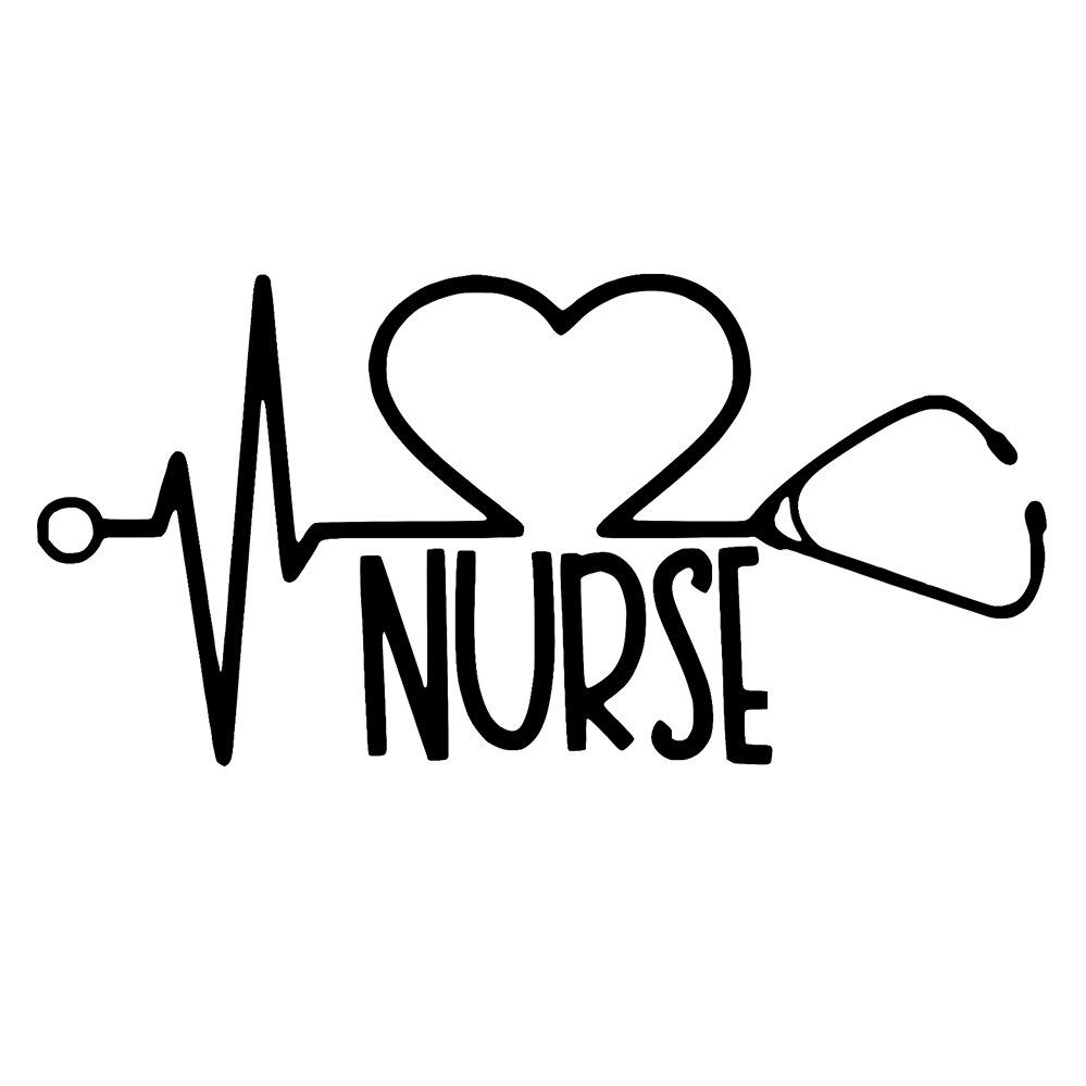 Nurse with Heart in Heartbeat Vinyl Car Window Decal Bumper Sticker US Seller
