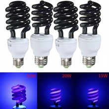 E27 15/20/36W Spiral Enegy Saving UV Ultraviolet Fluorescent Black Light CFL Light Bulb Violet Lamps 220V 300-400nm