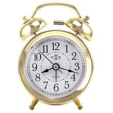 KTL 4 Inch Ultra Stille Classic Alarm Clock Retro Double Bell Desk Table  Alarm Clock Gold/Silver Color Drop Shipping