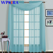 Blue Kitchen Short Sheer Solid Curtain Scarf Panel Tulle Window Treatment Pink Door Curtains Home Decor Living Room WP184-30(China)