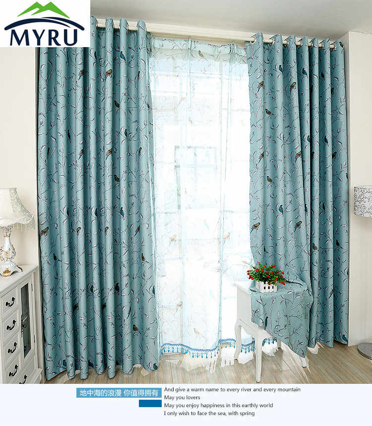 MYRU new arrival American Mediterranean nature flowers bird turquoise curtains double side available curtain