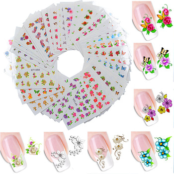 60 Sheets Nail Art Flower Water Tranfer Sticker Nails Beauty Wraps Foil Polish Decals Temporary Tattoos Watermark