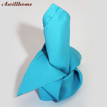 Awillhome 10pcs/lot 200gsm aqua table napkin polyester napkins colored linen napkins 40x40cm(China)