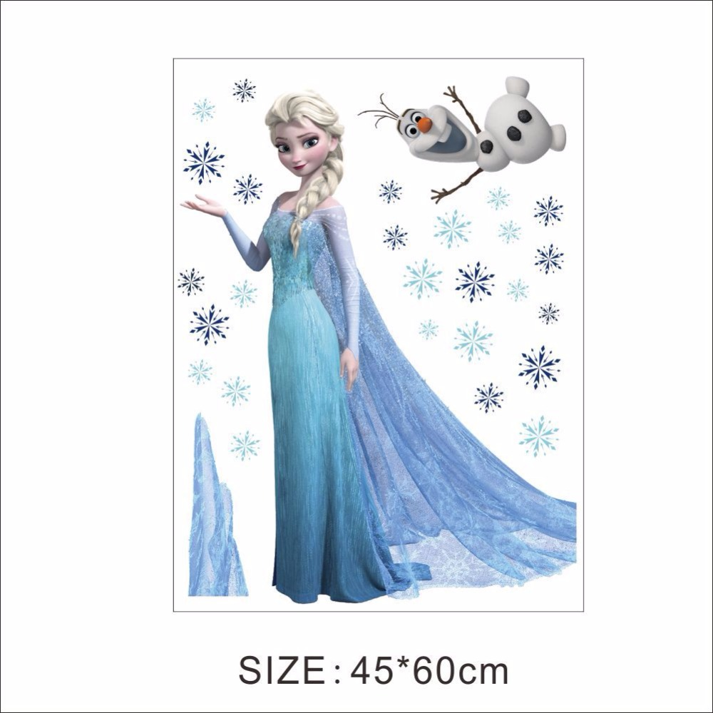 HTB1dYxOeL2H8KJjy0Fcq6yDlFXa9 - Fashion Cartoon Elsa Anna wall stickers girl Children room background decor stickers removable kids bedroom movie poster decal