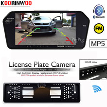 KOORINWOO Wireless Parking TFT LCD Car Monitor Media Player Bluetooth MP5 MP4 FM license Car Rear view Camera 16 Lights Back Up(China)