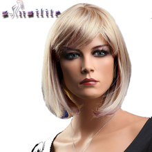 S-noilite Short Blonde Red Bob Hair Wig Heat Resistant Blonde Synthetic Wigs Black Brown Women Natural Fake Hair Pieces(China)