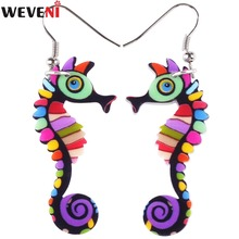 WEVENI Acrylic Drop Dangle Long Hippocampus Seahorse Earrings New Fashion Ocean Collection Animal Jewelry For Women Accessories(China)