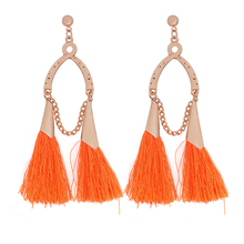 Buy Geometry Woolen Tassel Drop Earrings Fashion Metal Green Black White Beige Red Orange Pink Yellow Blue Earring women Jewelry for $1.37 in AliExpress store