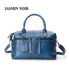 2017 New Women Real Cow Leather Boston Messenger bag Lady Dating Tassel Crossbody Bag Big Causal Female Genuine Leather handbags(China)