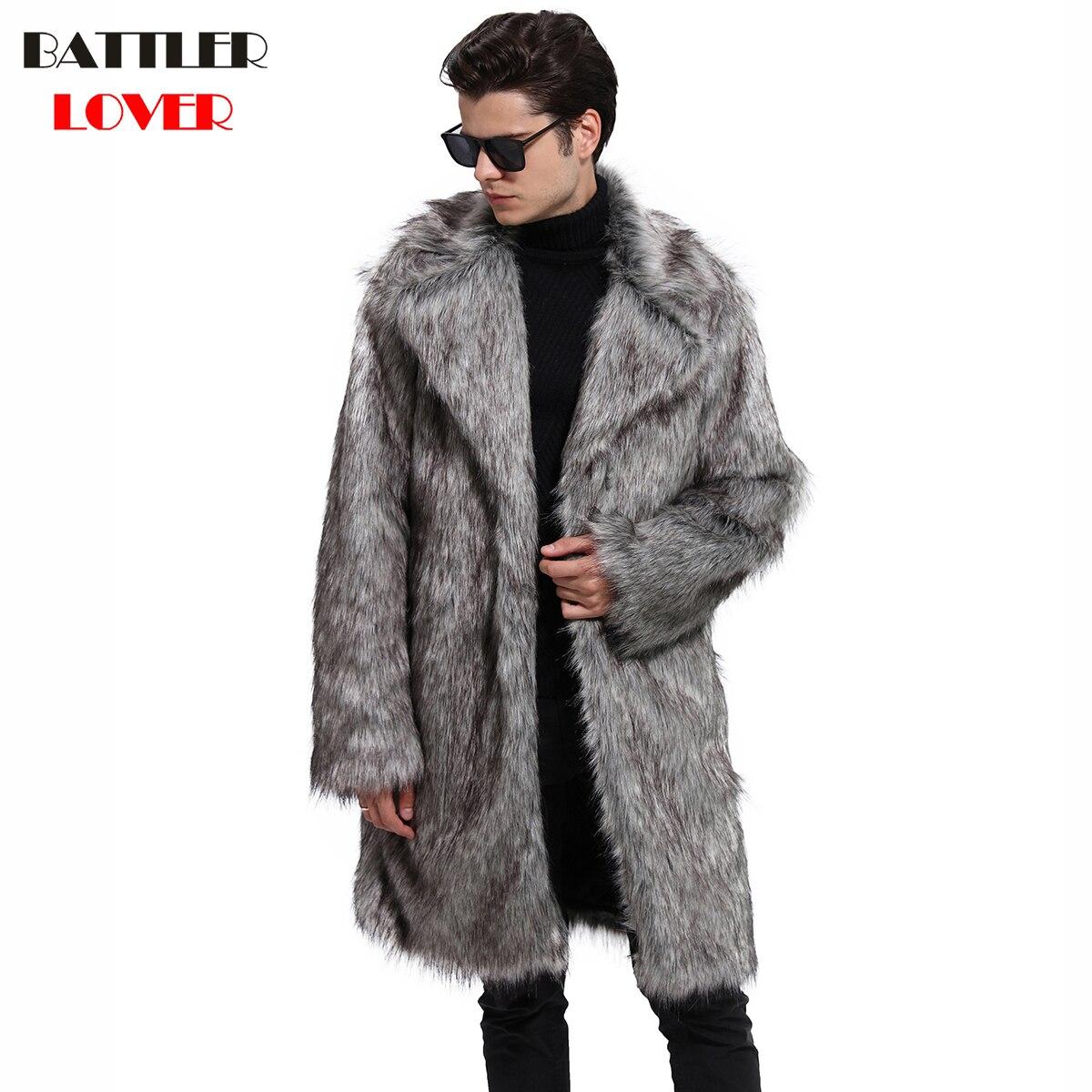 2018 Mens Fur Coat Winter Warm Outwear Coats Faux Fur Men Punk Parka Jackets Hombre Leather Overcoat Genuine Fur Brand Clothing