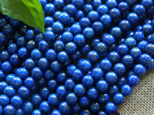 Wholesale (2 strands/set) natural A++ lapis lazuli 8mm smooth round gem beads for jewelry making(China)