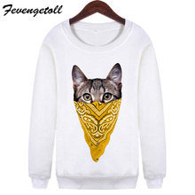 New 2017 Women Harajuku Hipsetr Pullovers Punk Mask Cat Hoodies Long Sleeve 3D Sweatshirt Sudaderas Mujer WMH125