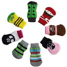 Discount! 4Pcs Pet Dog Socks Cute Cartoon Dog Non-slip Warm Socks Pet Dog Acessorios Dogs Pets Accessories Free Shipping(China)