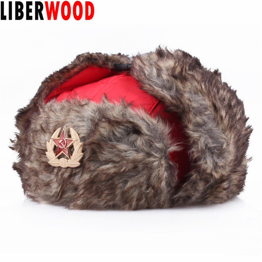 USHANKA RUSSIAN ARMY MILITARY FUR HAT USSR SOVIET SOLDIER RED STAR //EAGLE BADGE
