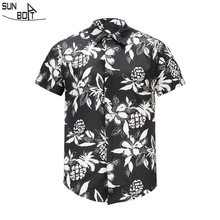 Sunboat Brand 2017 New Arrivals 3D Printed Pineapple Flower Short-sleeved Shirt High Quality Men's Casual Tops Summer Clothing