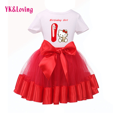 New Arrival 2017 Kitty Similar Cute Baby Girl 1st Birthday Short Sleeve T-Shirt +Red Tutu Skirt Kids Wear Clothing Set Hot Sale