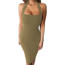 Buy Sexy Bandage Bodycon Dress Halter Strapless Party Dresses Sleeveless Summer Women Dress Party Mujer Knee-length GV649