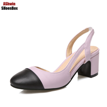 plus size 35-44 summer women sandals round toe pumps suare heels lady comfort shoes working shoes elegant lady shoes jelly color(China)