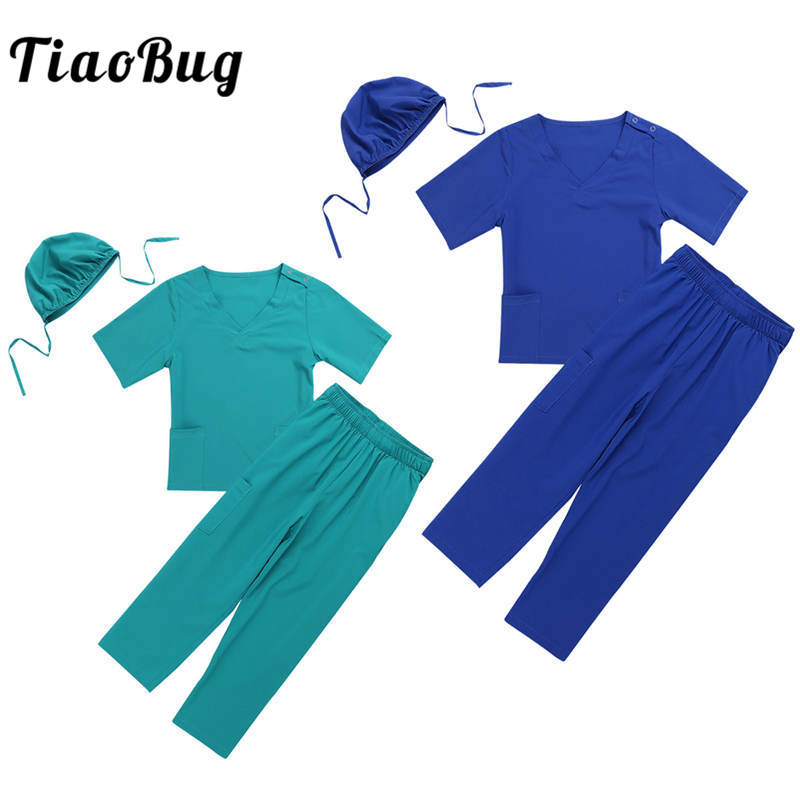 TiaoBug Unisex Kids Boys Girls Surgeon Doctor Lab Uniform Tops with Pants Cap Set for Halloween Cosplay Party Costume Age 2-14