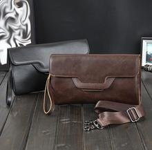 Personality design casual men's mad horsehide envelope paper bag Business Hand Bag Men Clutch Bags Long Leather Wallet Wristlet