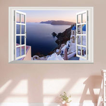 Fake Window Wall Stickers Living Room Decor Deep Blue Sea View 3D Veduta Finestrino Decalcomania Per Casa Home Decor