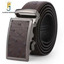 FAJARINA Unique Design Casual Cowhide Genuine Ostrich Pattern Strap Leather Automatic Buckle Brown Belts for Men Belt N17FJ009