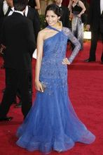 81th Oscar Annual Academy Awards Freida Pinto Blue Long Sleeves Celebrity Red Carpet Dresses A Line Tulle