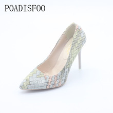 [H]2017 Pumps Woman Shoes spring autumn new national wind retro plaid heels pointed fine with single shoes women  .XXXY-F-168
