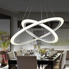 Modern 2 Ring 12W Led Pendant Light Kitchen Living Room Dining Room Adjustable Hanging Acrylic Rope Lamp Home Lighting 220V(China)