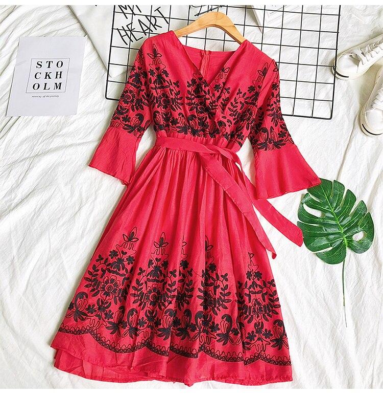2019 Spring Summer V-neck Embroidery Dress Flare Sleeves Bohemian Dress Belted Ethnic Loose Vintage Dress 63