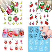 12PCS/Pack Summer Fruit Cake Cream Lace Harajuku Nail Art Water Transfer Sticker Decor Slider Decals Tool Manicure JISTZ489-500(China)