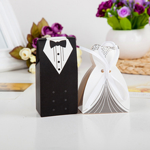 100 Pieces Creative Bride and Groom Candy Box For Wedding Sweet Bag Wedding Favors Gift For Guest(China)