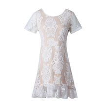 Buy Woman Lace Beach Dress 2018 Summer A-Line Solid White O-Neck Elegant Sexy Backless Patchwork Women's Casual Mini Bodycon Dresses for $22.63 in AliExpress store
